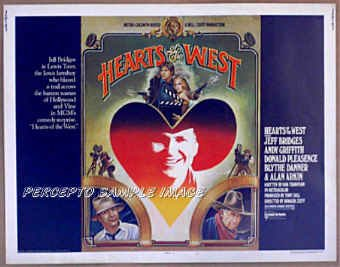 HEARTS OF THE WEST ~ '75 Half-Sheet Western Movie Poster ~ JEFF BRIDGES / ALAN ARKIN / ANDY GRIFFITH
