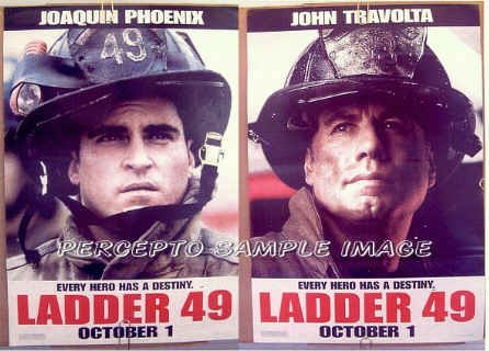 LADDER 49 ~ '04 Rare 2-Side / 2-Image Promo Movie Poster ~ Joaquin PHOENIX / John TRAVOLTA