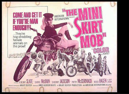 MINI SKIRT MOB ~ Sexy '68 AIP Cycle Chick Half-Sheet Movie Poster ~ DIANE McBAIN / PATTY McCORMACK