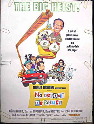 NO DEPOSIT NO RETURN ~ Rare-Size 30x40 WALT DISNEY Movie Poster ~ DON KNOTTS / BARBARA FELDON