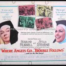 WHERE ANGELS GO TROUBLE FOLLOWS '68 Half Sheet Movie Poster ~ Trouble With Angels / ROSALIND RUSSELL