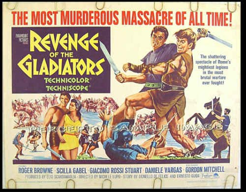 REVENGE OF THE GLADIATORS ~ '65 Sword & Sandal Half-Sheet Movie Poster ~ ROGER BROWNE