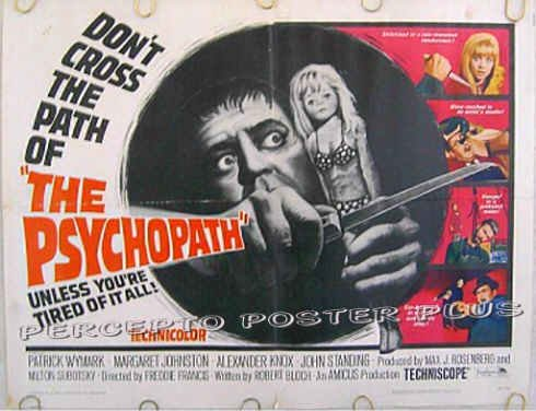 The PSYCHOPATH ~ '66 Half-Sheet Shocker Movie Poster ~ ROBERT BLOCH / PATRICK WYMARK