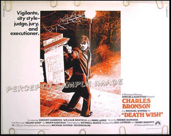 DEATH WISH ~ Original '74 Half-Sheet Movie Poster ~ CHARLES BRONSON