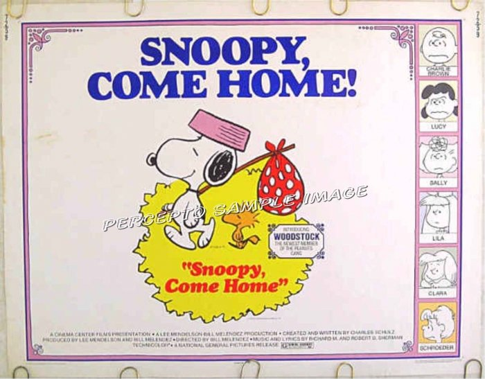 SNOOPY COME HOME ~ '72 Peanuts Half-Sheet Movie Poster ~ CHARLES SCHULTZ Art / CHARLIE BROWN
