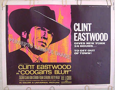 COOGAN'S BLUFF ~ '68 Half-Sheet Movie Poster ~ CLINT EASTWOOD / DON STROUD / LEE J COBB