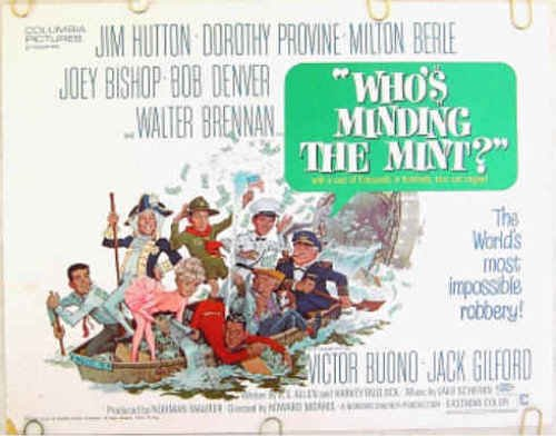 WHO'S MINDING THE MINT? ~ '67 Half-Sheet Movie Poster ~ JACK RICKARD Art / BOB DENVER / MILTON BERLE