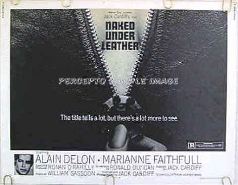 NAKED UNDER LEATHER Girl On A Motorcycle ~ Sexy '68 HS Movie Poster  ALAIN DELON / MARIANNE FAITHFUL