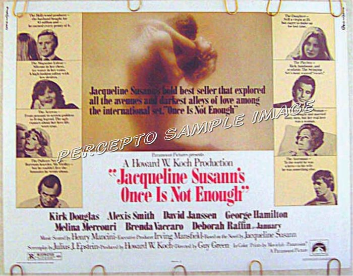 ONCE IS NOT ENOUGH ~ '75 Half Sheet Movie Poster ~ JACQUELINE SUSANN / ALEXIS SMITH / KIRK DOUGLAS