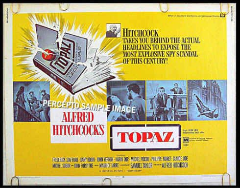 TOPAZ ~ '69 Half-Sheet LEON URIS Movie Poster ~ ALFRED HITCHCOCK / JOHN FORSYTHE / DANY ROBIN