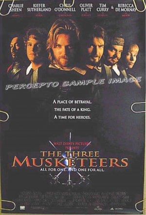 THREE MUSKETEERS ~'93 Movie Promo Poster ~ CHARLIE SHEEN / KIEFER SUTHERLAND / REBECCA DeMORNAY