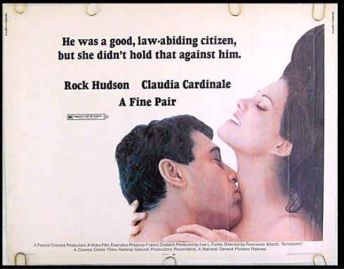 A FINE PAIR ~ '69 Half-Sheet Sex Comedy Movie Poster ~ Rock HUDSON / Claudia CARDINALE