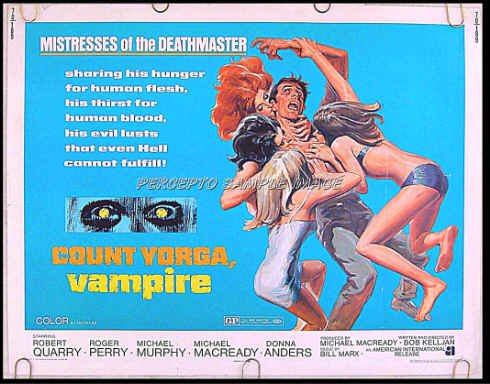 COUNT YORGA VAMPIRE ~ 1970 Sexy Half-Sheet Horror Movie Poster ~ ROBERT QUARRY