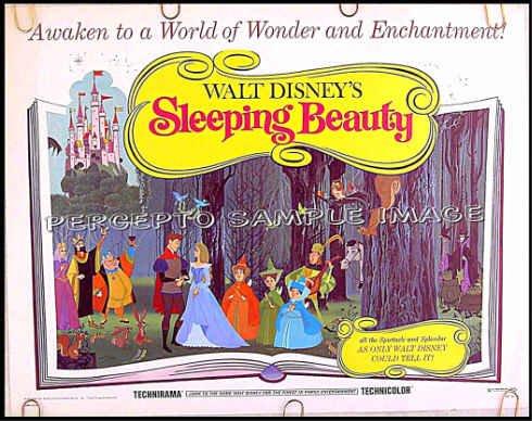 SLEEPING BEAUTY ~ Walt Disney R70 Half-Sheet Cartoon Movie Poster ~ ANIMATION FAIRY TALE