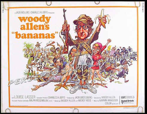 BANANAS ~ '71 Half-Sheet Movie Poster ~ WOODY ALLEN / JACK DAVIS Artwork / LOUISE LASSER