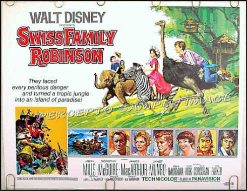 SWISS FAMILY ROBINSON ~ '75 DISNEY Half-Sheet Movie Poster ~ TOMMY KIRK / JAMES MacARTHUR