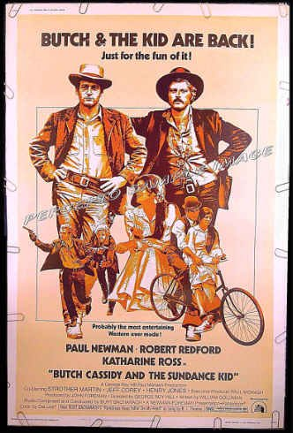 BUTCH CASSIDY & THE SUNDANCE KID ~ R73 40x60 Western Movie Poster ~ PAUL NEWMAN / ROBERT REDFORD