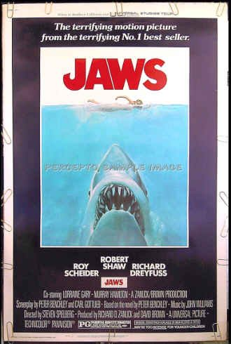 JAWS ~ RARE-SIZE '75 40x60 Shark Movie Poster ~ STEVEN SPIELBERG / ROY SCHEIDER / ROBERT SHAW