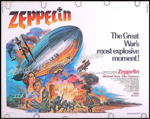 ZEPPELIN ~ '71 Half-Sheet War Movie Poster ~ MICHAEL YORK / ELKE SOMMER
