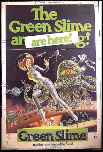 The GREEN SLIME ~ '69 Sci-Fi 40x60 Movie Poster ~ LUCIANA PALUZZI / ROBERT HORTON / SEXY SPACE ART