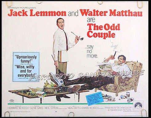 ODD COUPLE ~ '68 Half-Sheet Movie Poster ~ JACK LEMMON / WALTER MATTHAU / ROBERT McGINNIS ART
