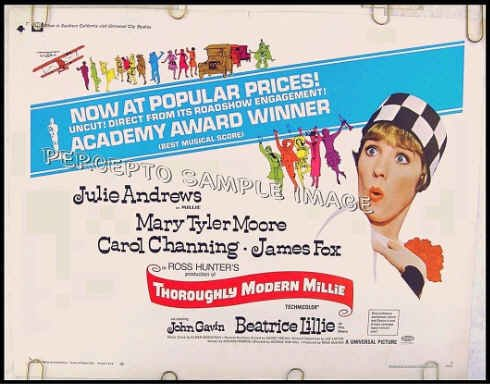 THOROUGHLY MODERN MILLIE ~ '67 Half-Sheet Musical Movie Poster ~ JULIE ANDREWS / MARY TYLER MOORE