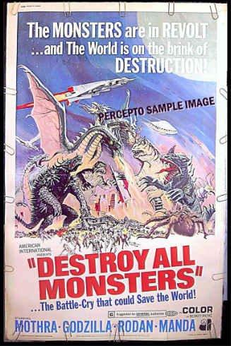 DESTROY ALL MONSTERS ~ '76 40X60 SCI-FI Movie Poster ~ GODZILLA / RODAN / MOTHRA / REYNOLD BROWN ART