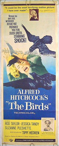 THE BIRDS ~ '63 Original Insert Movie Poster ~ ALFRED HITCHCOCK / TIPPI HEDREN / SUZANNE PLESHETTE