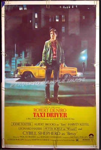TAXI DRIVER ~ '76 40x60 Movie Poster ~ ROBERT DeNIRO / JODIE FOSTER / MARTIN SCORSESE