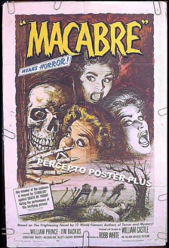 MACABRE ~ '58 1-Sheet Gimmick Horror Movie Poster ~ WILLIAM CASTLE / JIM BACKUS / SKULL Art