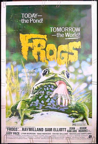 FROGS ~ ''72 AIP 40x60 Horror Movie Poster ~ RAY MILLAND / SAM ELLIOTT / JOAN VAN ARK / JUDY PACE