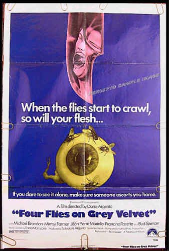 FOUR FLIES ON GREY VELVET ~ '72 1-Sheet Movie Poster ~ DARIO ARGENTO / BUD SPENCER / MIMSY FARMER