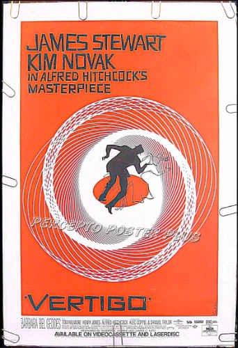 VERTIGO ~ R96 1-Sheet Movie Poster ~ ALFRED HITCHCOCK / JAMES STEWART / KIM NOVAK / SAUL BASS