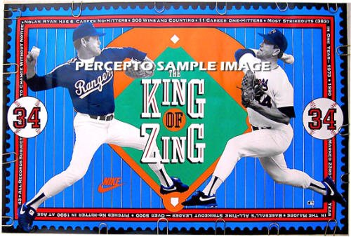 NOLAN RYAN King of Zing ~ Original 90s Texas Rangers Baseball Stat poster ~ MAJOR LEAGUE BASEBALL