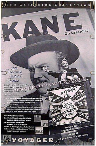 CITIZEN KANE ~ 80s Criterion 1-Sheet LIMITED EDITION Poster ~ ORSON WELLES / JOSEPH COTTEN