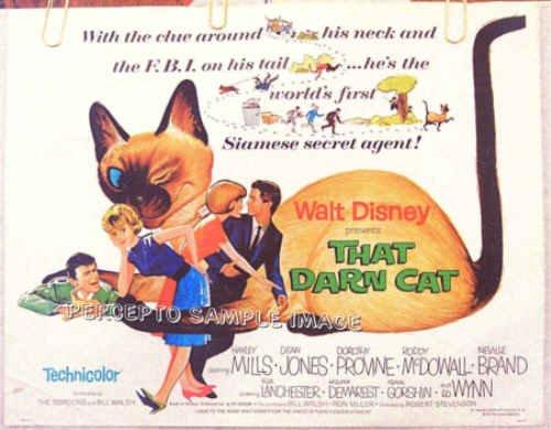 THAT DARN CAT ~ '73 Half-Sheet WALT DISNEY Movie Poster ~ HAYLEY MILLS / DEAN JONES