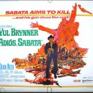 ADIOS SABATA / INDIGO BLACK ~ '71 Half-Sheet Western Movie Poster ~ YUL BRYNNER / DEAN REED