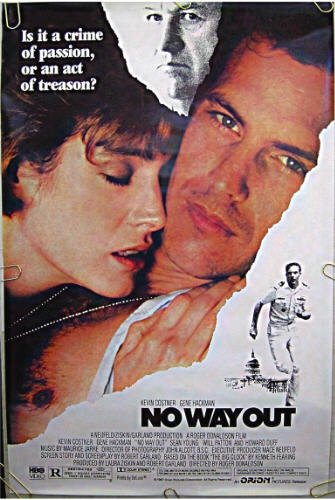 NO WAY OUT ~ '87 1-Sheet Movie Poster ~ KEVIN COSTNER / GENE HACKMAN / SEAN YOUNG / WILL PATTON