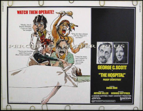 The HOSPITAL ~ '71 Half-Sheet Movie Poster ~ DIANA RIGG / GEORGE C SCOTT / PADDY CHAYEFSKY