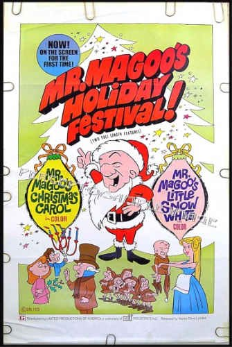 MR MAGOO'S CHRISTMAS CAROL / HOLIDAY FESTIVAL ~ Rare 1970 1-Sheet Movie Poster ~ JIM BACKUS