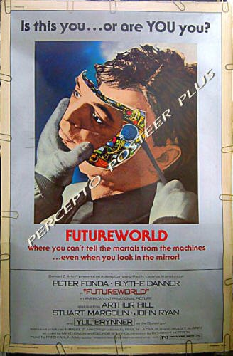 FUTUREWORLD ~ '77 RARE-SIZE 40x60 Movie Poster ~ PETER FONDA / MICHAEL CRICHTON Westworld Sequel