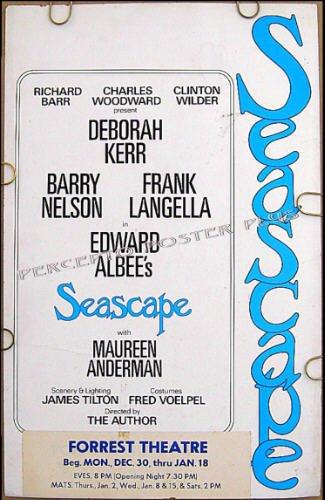 SEASCAPE ~ Rare '75 BROADWAY TRYOUT Theatre Poster ~ Edward ALBEE / Deborah KERR / Frank LANGELLA