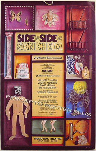 SIDE BY SIDE BY SONDHEIM ~ '77 NY Musical Theatre Poster ~ STEPHEN SONDHEIM / BROADWAY