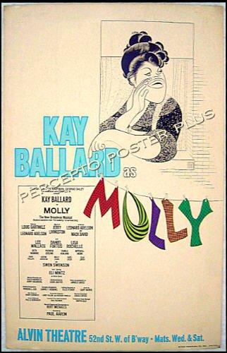MOLLY Goldberg ~ '73 FLOP BROADWAY Musical Poster ~ KAYE BALLARD / AL HIRSCHFELD ART / GERTRUDE BERG