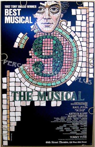 NINE / 9 ~ ORIG CAST '82 Broadway MUSICAL Poster ~ RAUL JULIA / TOMMY TUNE / KAREN AKERS / TANIA ELG