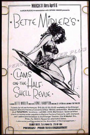 CLAMS ON THE HALF SHELL REVIEW ~ '75 Theatre Tryout Poster ~ BETTE MIDLER / RICHARD AMSELL ART
