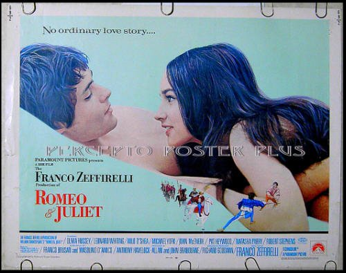 ROMEO & JULIET ~ Orig '69 HS Movie Poster ~ FRANCO ZEFFIRELLI / OLIVIA HUSSEY / LEONARD WHITING
