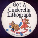 CINDERELLA / WALT DISNEY CARTOON / Mice / Original '88 MOVIE ANIMATION PROMO PINBACK