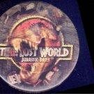 JURASSIC PARK : LOST WORLD ~ '97 LENTICULAR Movie Logo Promo Pinback ~ T-REX / DINOSAUR