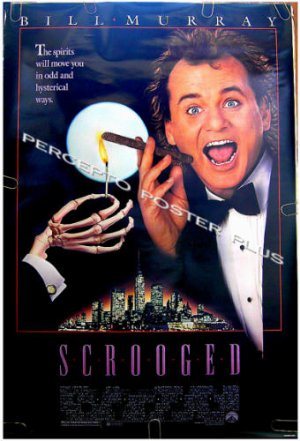 SCROOGED ~ '88 1-Sheet Christmas Carol Movie Poster ~ BILL MURRAY / RICHARD DONNER